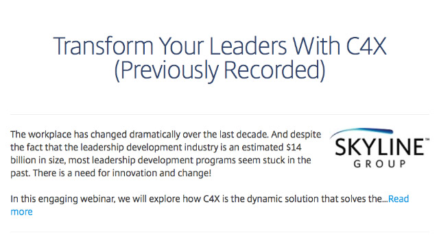 Transform Your Leaders With C4X